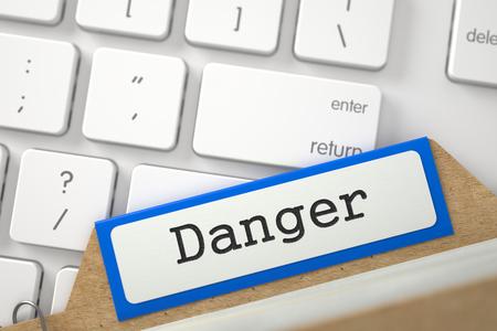 Sort Index Card with Danger. 3d Standard-Bild