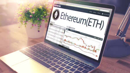 The Dynamics of Cost of ETHEREUM on the Laptop Screen. 3d Standard-Bild
