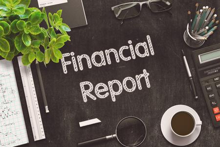 Black Chalkboard with Financial Report. 3D Rendering.