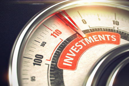 Investments - Text on Conceptual Scale with Red Needle. 3D.