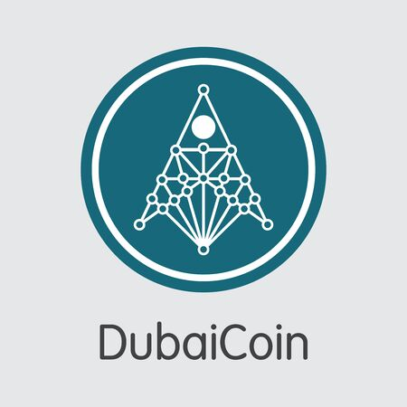 Dubai coin Digital Currency  Vector Web Icon.