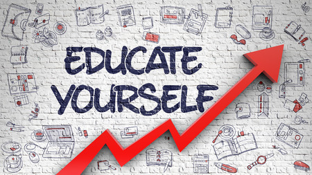 Educate Yourself Drawn on White Brick Wall. 3d Stock Photo