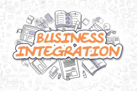 Business Integration - Doodle Orange Text. Reklamní fotografie