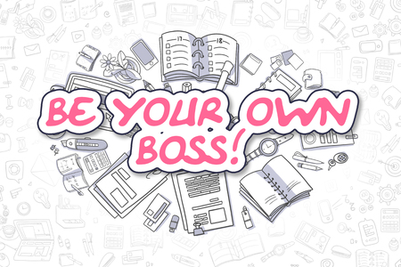 Be Your Own Boss - Cartoon Magenta Text. Business Concept. 스톡 콘텐츠
