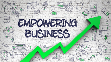 Empowering Business Drawn on Brick Wall. 3d Stock Photo