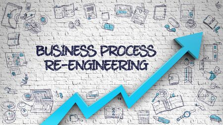 Business Process Re-Engineering Drawn on White Wall. 3d