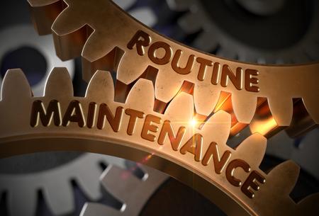 Concepto de mantenimiento de rutina. Engranajes de oro. Ilustración 3D