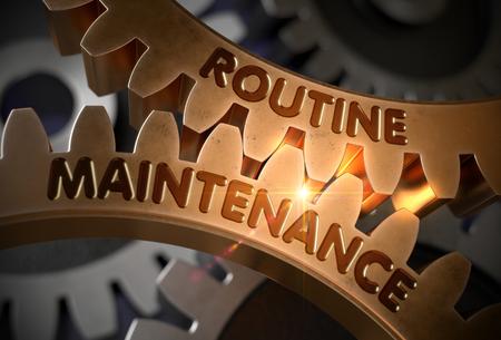 Routine Maintenance Concept. Golden Gears. 3D Illustration. Stock Photo