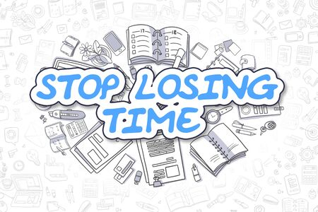 Stop Losing Time - Cartoon Blue Text. Business Concept. Stock Photo