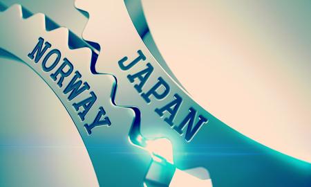Japan Norway - Mechanism of Shiny Metal Cogwheels . 3D . Stock Photo
