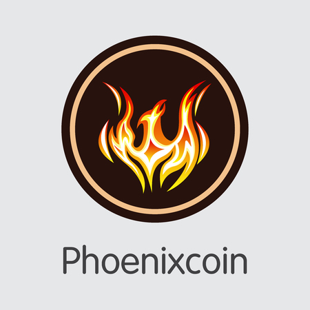 Phoenixcoin. Cryptographic Currency. PXC Coin Pictogram Isolated on Grey Background. Stock Vector Graphic Symbol.