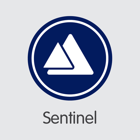 Sentinel - Virtual Currency Concept. Colored Vector Icon Logo and Name of Cryptographic Currency on Grey Background. Vector Coin Pictogram for Exchange SENC.