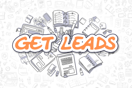 Get Leads - Cartoon Orange Text. Business Concept. Foto de archivo - 99978041