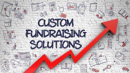 Custom Fundraising Solutions Drawn on Brick Wall. 3d