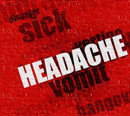 Modern health concept: Headache on the Red Brickwall .