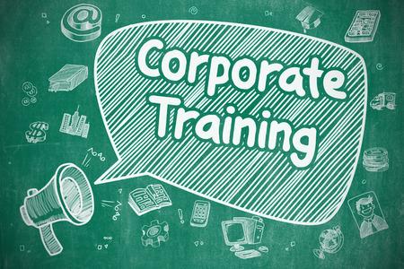 Corporate Training - Doodle Illustration on Blue Chalkboard.