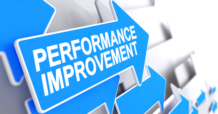 Performance Improvement - Message on Blue Pointer. 3D.