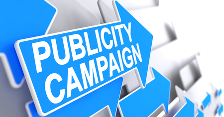 Publicity Campaign - Message on the Blue Cursor. 3D.