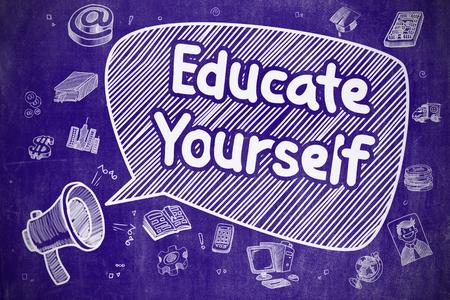 Educate Yourself - Cartoon Illustration on Blue Chalkboard. Stock Photo