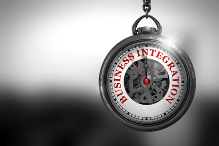 Business Integration on Pocket Watch. 3D Illustration.