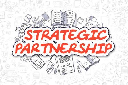 Strategic Partnership - Cartoon Red Text. Business Concept. Фото со стока