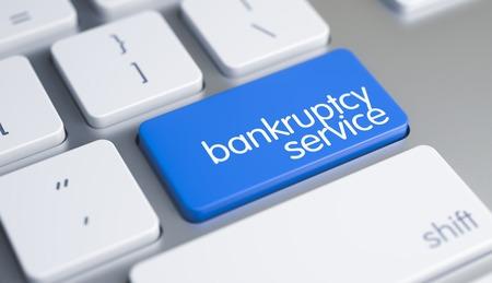 Bankruptcy Service - Caption on Blue Keyboard Key. 3D.