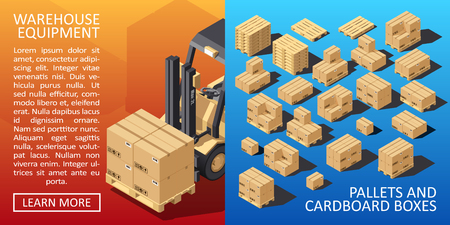 Boxes on Wooded Pallet Isometric Style Warehouse Cardboard Parcel Boxes Stack. Carton Delivery Packaging Box with Fragile Signs. Vector illustration. Ilustração