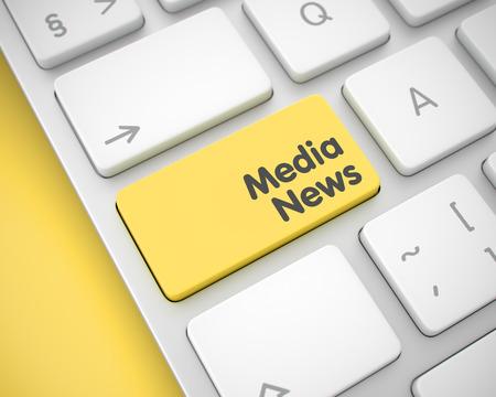 Media News - Text on Yellow Keyboard Key. 3D.