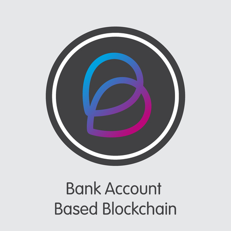Bank Account Based Blockchain - Cryptocurrency Illustration. Vector Icon