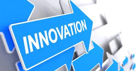 Innovation - Message on Blue Arrow. 3D Render. Stock Photo