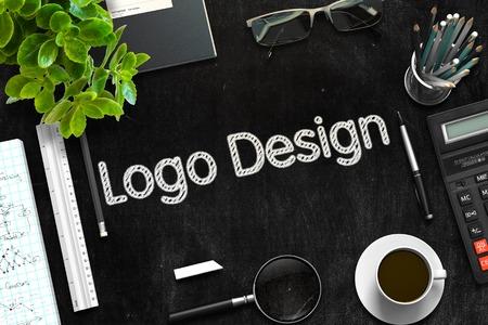 Logo Design on Black Chalkboard. 3D Rendering.