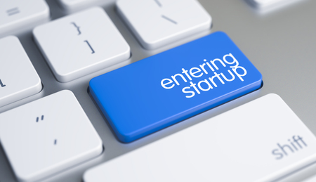 Entering Startup - Message on Blue Keyboard Button. 3D.