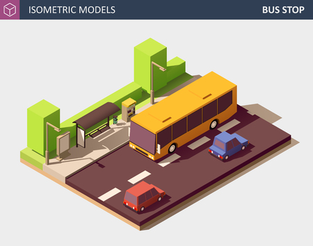 Modern Urban Concept of Public Transport. Includes Bus on Bus Station, Ticket Vending Machine, Litter Bin, Personal Cars, Outdoor Advertising Citylight with Empty Space. Vector Isometric Illustration.