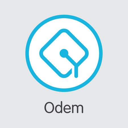 Odem - Digital Coin Vector Icon of Cryptographic Currency.