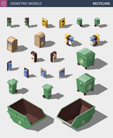 Modern Recycle Mixed Waste Garbage Bin Illustration Set.