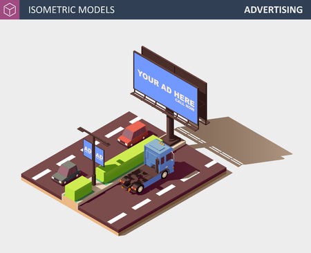 Outdoor Advertising Concept Representing Media Types and Placement Locations. Its includes Billboard, Street Lamp Post Advert Banner, Personal Cars and Commercial Truck. Vector Isometric Illustration. Banco de Imagens - 127472292