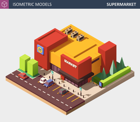 Isometric Vector Illustration of a Supermarket Grocery Store. Supermarket Building Exterior with Parking and Personal Cars.