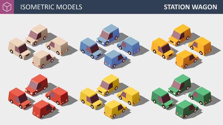 Vektor-Low-Poly-Personenwagen in sechs Farben eingestellt. Vektorgrafik
