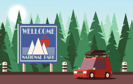 Traveling or Tourism Concept. Personal Car Drives into the National Park. Vector 2D Illustration.
