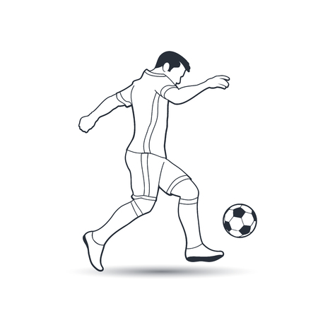 Soccer or Football Player Shooting a Ball Action. Outline Vector Illustration. Ilustração