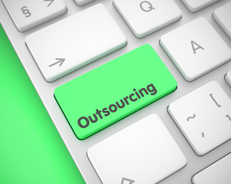 Outsourcing - Text on the Green Keyboard Keypad. 3D. Stock Photo