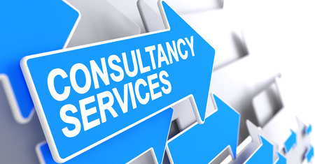 Consultancy Services - Inscription on the Blue Pointer. 3D.