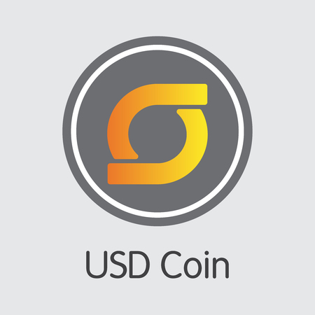 USDC - Usd Coin. The Crypto Coins or Cryptocurrency Logo. Market Emblem, Coins ICOs and Tokens.