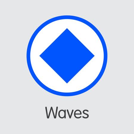ONDAS - Ondas. El logotipo de Crypto Coins o Cryptocurrency. Emblema de mercado, monedas ICO y tokens.
