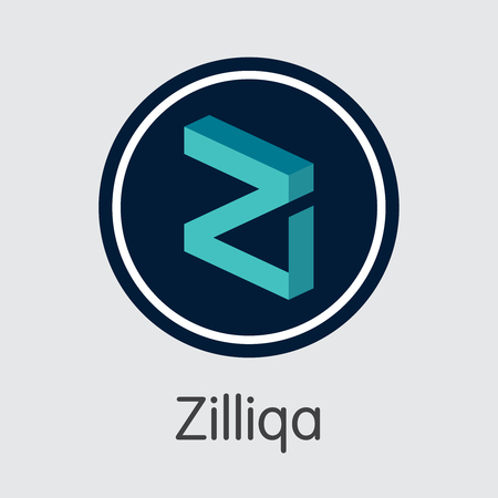 ZIL - Zilliqa. The Crypto Coins or Cryptocurrency Logo. Market Emblem, Coins ICOs and Tokens.