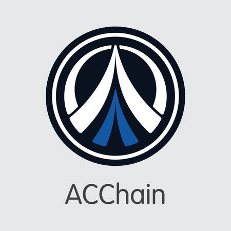 ACC - Acchain. The Crypto Coins or Cryptocurrency Logo. Market Emblem, Coins ICOs and Tokens. Ilustração
