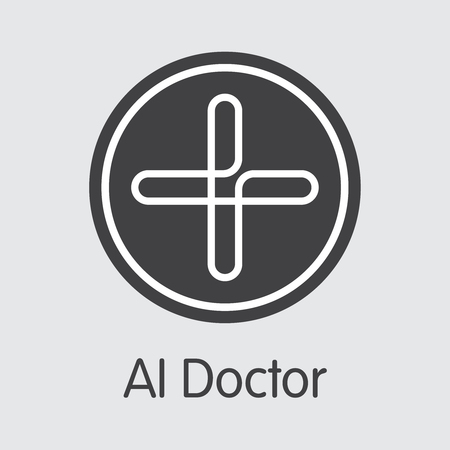 AIDOC - Aidoctor. The Crypto Coins or Cryptocurrency Logo. Market Emblem, Coins ICOs and Tokens.