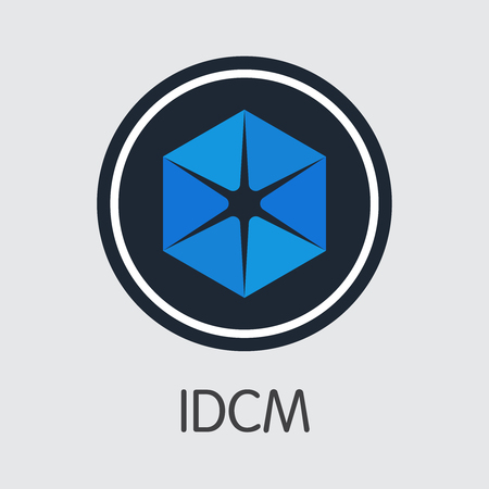 Exchange - Idcm. The Crypto Coins or Cryptocurrency Logo. Market Emblem, Coins ICOs and Tokens Icon.