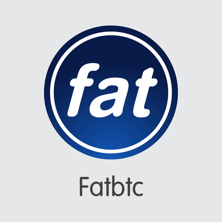 Exchange - Fatbtc. The Crypto Coins or Cryptocurrency Logo. Market Emblem, Coins ICOs and Tokens Icon.