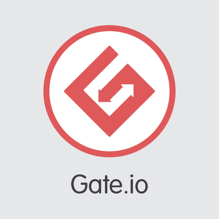 Exchange - Gateio. The Crypto Coins or Cryptocurrency Logo. Market Emblem, Coins ICOs and Tokens Icon.